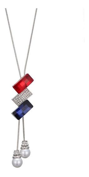 Collar Largo Cristales Colores Y Perlas Colgantes Joyería