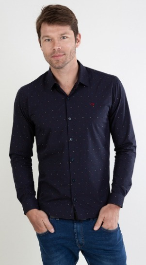 Camisa Social Ogochi Masculina Marinho 001418672