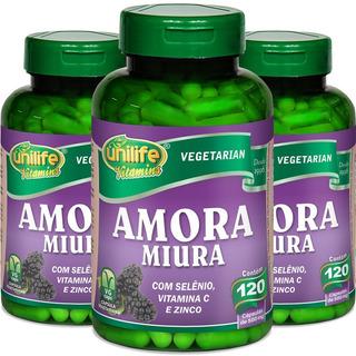 Kit 3 Amora Miura 500mg 120 Cáps - Unilife Vitamins