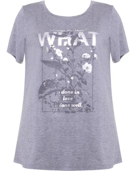 Camiseta Feminina Manga Curta Com Estampa Em Viscose Cinza S