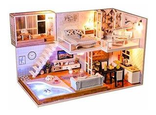 Miniatura De La Casa De Muñecas Cutebee Con Muebles Kit De L