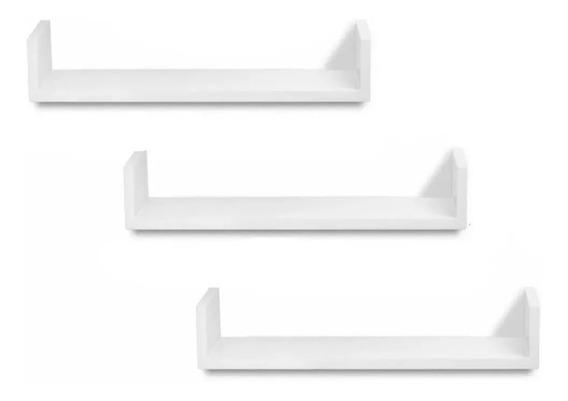 Promoção 3 Prateleira Nichos U 70x15 Mdf 15mm Branco 70153u