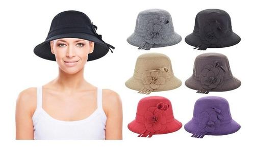 Sombrero Dama Paño C/flor - El Clon