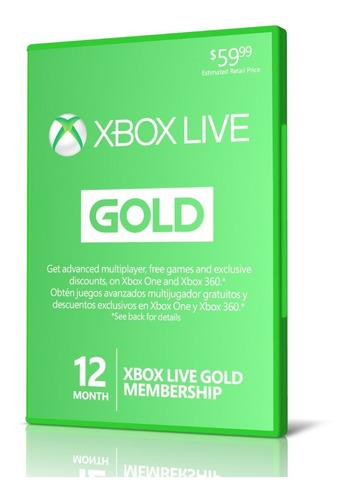 Xbox Live Gold 12 Meses Xbox One 360 Región Libre Membresia