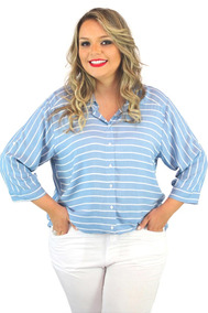Camisa Cais Vocco Em Tecido Plano Plus Size - Roupa Gordinha