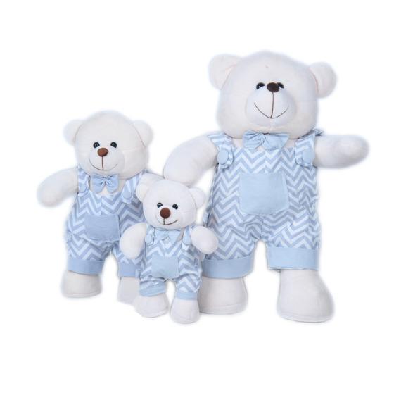 Trio De Urso Menino Chevorn Para Decoração Nicho Quarto Bebê