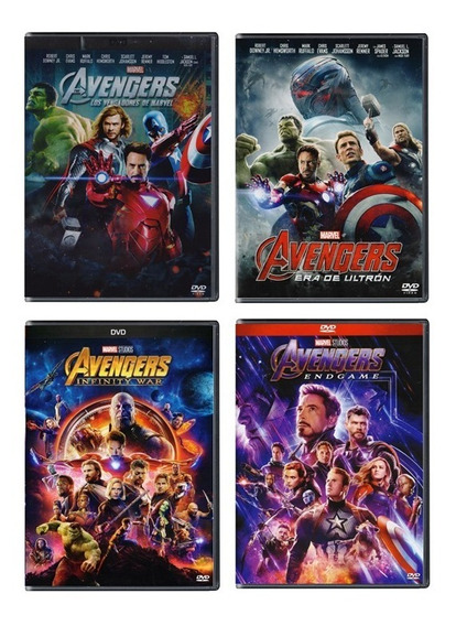 Avengers + Ultron + Infinity War + Endgame Paquete Dvd