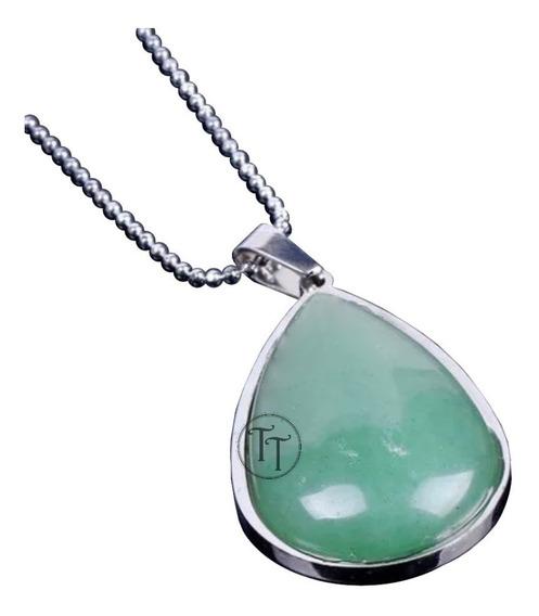 Collar Jade Natural Titanio 18k Drop
