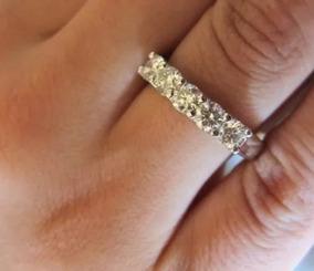 Meia Aliança Com Pedras Diamantes De 15 Pontos!!