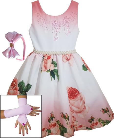 Vestido Infantil Luxo Princesa Realeza Daminha Floral Oferta