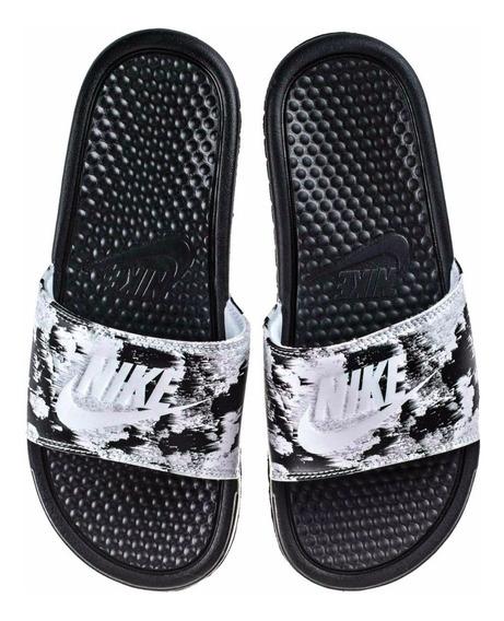 Nike Benassi Jdi Print Black White - Mujer