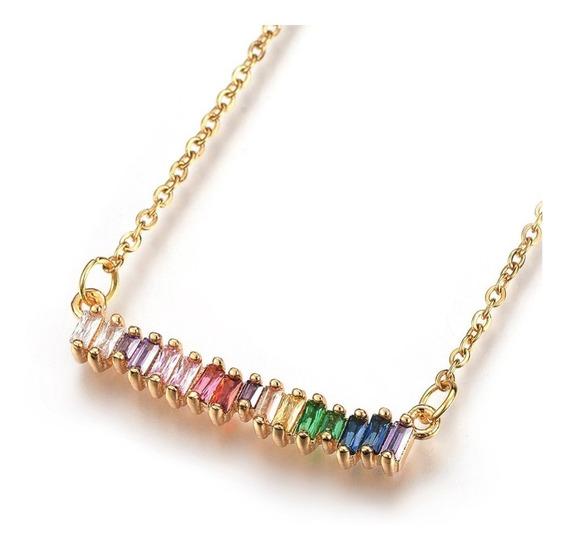 Joyería Acero Inoxidable Collar Zirconia Colores Rainbow