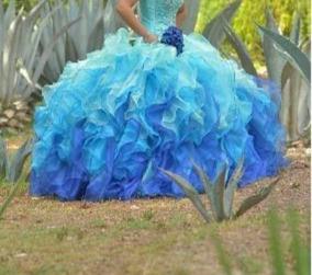 Vestido De Xv Años Azul Difuminado