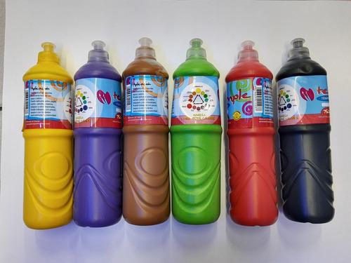 Imagen 1 de 3 de Tempera Botella 750ml Jardin Escuela Varios Colores X10