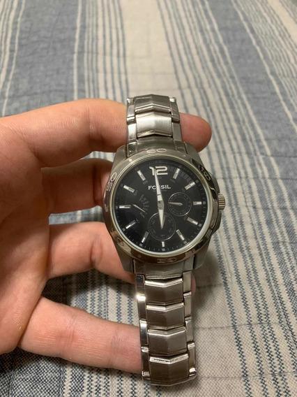 Relógio Fóssil Original Pulseira De Aço Inoxidável Bq 9328