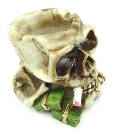 Cranio Cinzeiro Dado Caveira Decorativo Resina