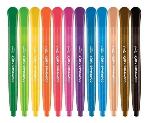 Imagen 1 de 4 de Lapices Crayones Giratorios Cera X12 Color Peps Twist Maped