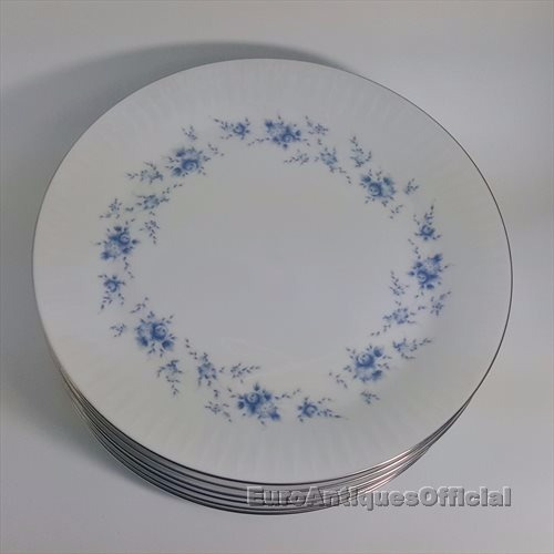 Platos Playos Porcelana Tsuji - Flores Celestes Bordes Plata