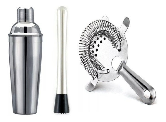 Kit Bar Coqueteleira Inox 500ml + Socador Inox+ Coador Drink