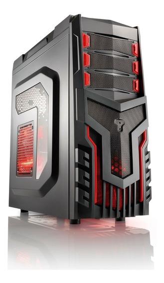 Gabinete Gamer Pc Vermelho + 3 Cooler C/ Led - Multilaser