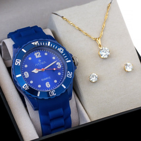 Relógio Nowa Feminino Azul Nw0522ak Borracha + Kit Brinde