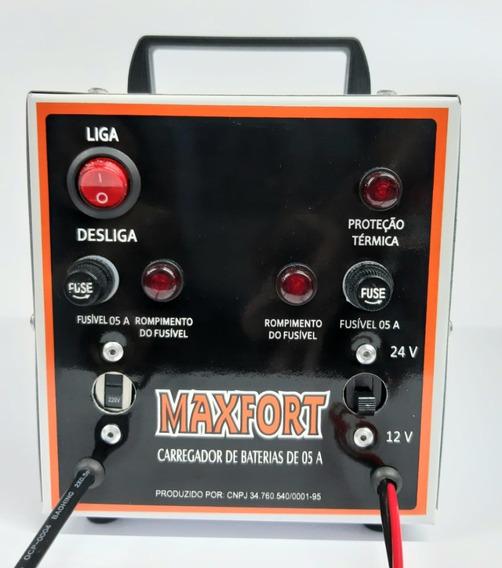 Carregador De Bateria 5 Amperes 12v E 24v Portatil Maxfort