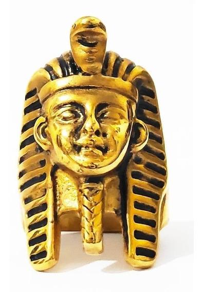 Anel Aço Inox Faraó Pirâmide Egito Rei Tutankamon Múmia