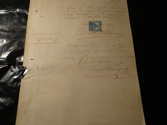 1883- Recibo Con Fiscal De 1 Peso/ Cheques/ Buenos Aires