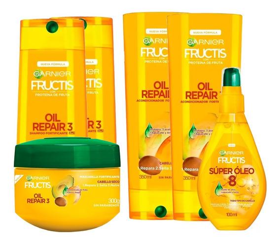 Pack Rutina Oil Repair 3 Aceites Fructis Garnier 6 Unidades