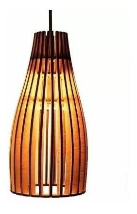 Lustre Luminária Kit Com 12 Unidades Madeira Rústico