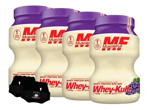 Kit 4x Whey Kult 900g Uva Muscle Full + Luva