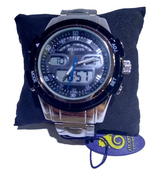 Relógio Atlantis Ana. Dig. Prata Fundo Preto E Azul - G3208