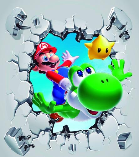 Vinilos Decorativos Adhesivos Pared Rota 3d Mario