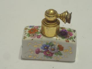 Antiguo Perfumero Frances Pate De Limoges Pintado A Mano