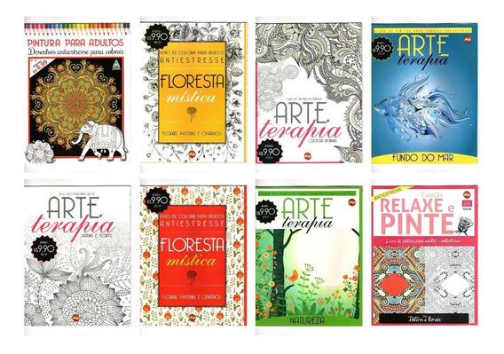 8 Livros De Colorir Adulto Arte Terapia Antiestresse Lote 1