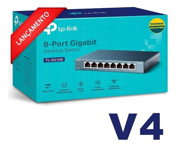 Switch Mesa 8 Portas Tp-link Tl-sg108 10/100/1000 Gigabit V4