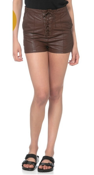 Delaostia - Shorts Eco-cuero Marron Tiro Alto !! Divinos !!!