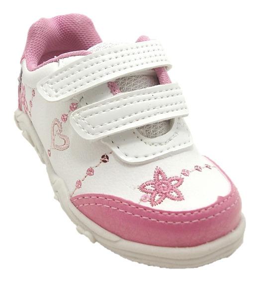 Tênis Infantil Feminino Branco/pink -bloompy 2310 Dicastros