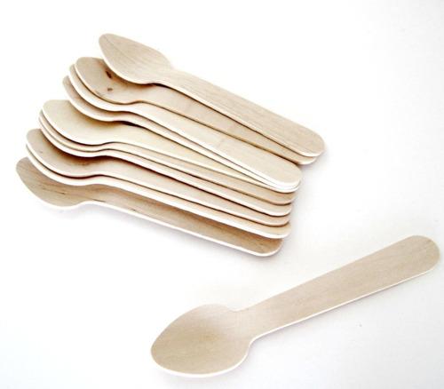Cucharitas De Madera De Bambu Descartables 10cms X 100