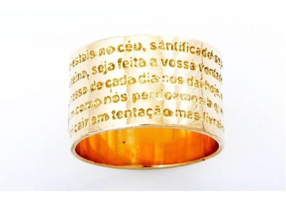 Anel Feminino Ouro 18k Oração Do Pai Nosso + Porta Joias 0010