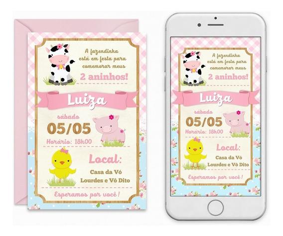 Convite Digital Fazendinha Rosa Menina Candy Colors Imprimir