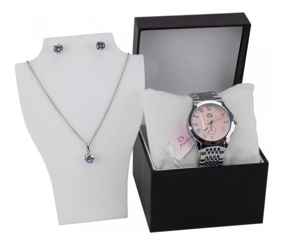 Relógio Feminino Prateado Quartz + Colar + Brinco - Rma41