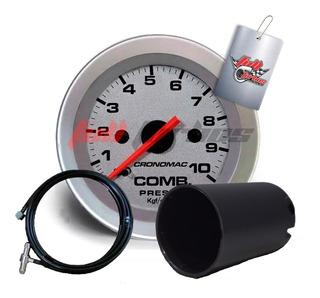Manômetro Combustivel 52mm Mec10kg Racing+copo E Kit Insta