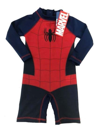 Malla Tipo Body Pileta C/prot. Solar Uv 50 Spiderman H.araña
