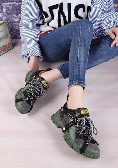 Zapatillas Gucci Piedritas Verde Oscuro 35/40