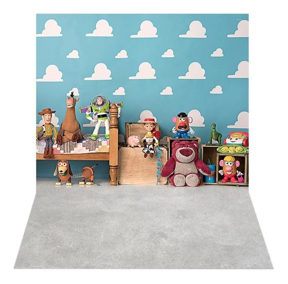 Fundo Fotográfico Tecido Newborn Toy Story 2,2x1,5 - Ffc-482