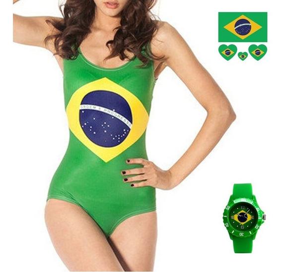 Kit Maiô Body Bandeira Brasil + Tatuagem E Relógio Brinde