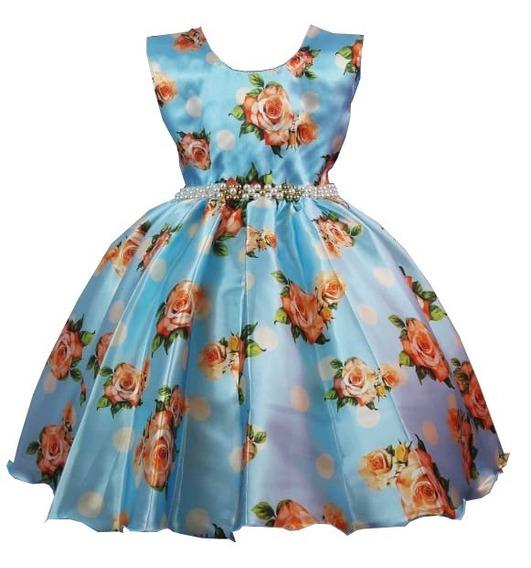 Vestido Infantil Festa Azul Floral Casamento Formatura C1422