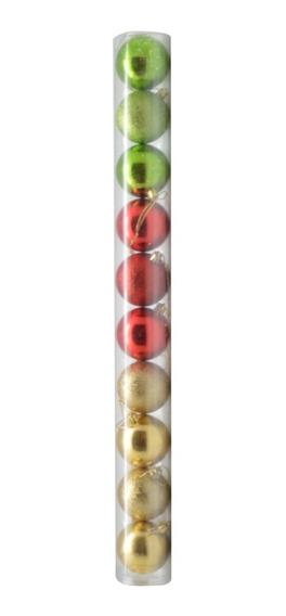 Tubo Bolas Navidad X 10 (bri-esc) 6cm Multicolor