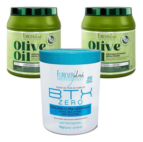 Kit Profissional Forever Liss Btx Zero E 2 Mascara Olive Oil